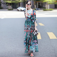 SVORYXIU Autumn Designer Maxi Dress Women's High Quality 3/4 Sleeve Vintage Fancy Flower Printed Resort Floor Length Dress