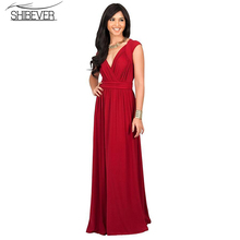 Buy SHIBEVER 2017 Solid Woman Dress Sexy V-neck Party Dresses New Fashion Elegant Long Dresses Sleeveless Casual Dress LD06 for $15.38 in AliExpress store