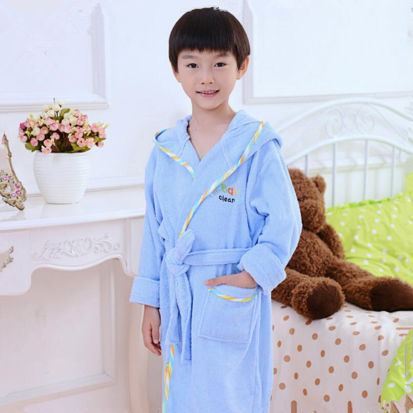 boys bathrobe kids hooded poncho towel pink bathrobe for girls roupao blue bath robe green loose cotton pajamas baby bath robes<br>