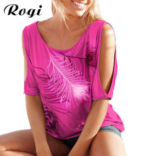 Rogi Sexy Off Shoulder T-Shirt Female 2017 Summer Feather Harajuku T Shirt Women Casual Tee Tops Camisetas Mujer Plus Size 5XL