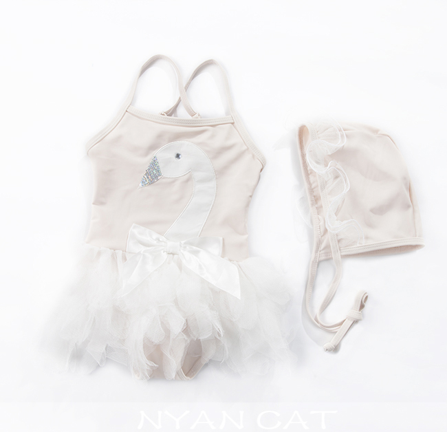 Baby Swimwear+Hat Swan Swimsuit Baby Girl Adjustable Strap Beachwear Lace Bow-Knot Bathing Suits Child Summer Beach Clothing<br><br>Aliexpress