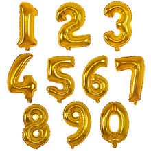 APRICOT 16 inch 0-9 Gold Silver Number Foil Balloons Helium Ballons Birthday Party Wedding Decor Air Baloons Party Supplier(China)