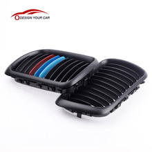KKmoon Car Style Front Grills 2Pcs Matte Black M-color Front Kidney Grille for BMW E36 3 Series 1997-1999 for Cars