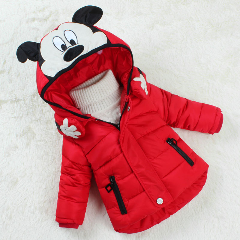 Winter Girls Coat Cotton 2016 New Fashion Hooded  Mickey Winter Jacket Thicker warm 2016 New Girl Winter Scarves RemovableÎäåæäà è àêñåññóàðû<br><br>