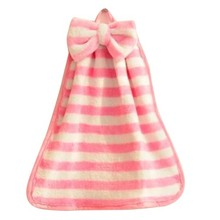 PHFU 1Pcs Stripe Hand Towel Soft Plush Fabric Cartoon Animal Hanging Wipe Bathing Towel Pink White