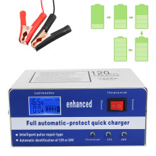 New 12V 24V 120AH LCD Automotive Dry Wet Battery Charger Intelligent Pulse Repair Automatic Smart Maintainer(China)