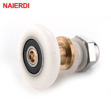 5PCS NAIERDI Stainless Steel Brass Shower Wheel Door Rollers Runners Rubber Wheels Pulleys For Bathroom Fixture Hardware(China)
