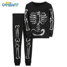 LONSANT Kids Baby Girls Boys Bone Tkeletons Tops Shirt + Pants 2PCS Vestido De Festa Infantil Funny Kids Clothing Dropshipping(China)
