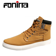 FONIRRA New 2017 Retro Style Men's Casual Shoes Spring Autumn Vintage Low Boots Lace Up High Top Men Shoes Size 38-47 180(China)