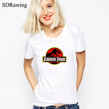 JURASSIC PARK print Women tshirt Cotton Casual Funny t shirt For Lady Top Tee Hipster gray black white Drop Ship(China)