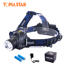 TOPIA STAR Waterproof Led Headlamp Rechargeable 18650 Battery Fishing Frontal Cree Led Headlight Head Lamp(China)