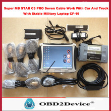 Best Quality Super Mb Star c3 with 7 cables +Panasonic CF-19 Military Laptop Warranty 3 Years Free Gift automobile Adapter Model