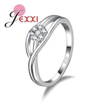JEXXI Hollow Design Wedding Rings 925 Sterling Silver Fashion Ring With Top Quality Shiny CZ Crystal  Accesories Hot Selling