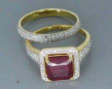 Vintage Ring Sets Ruby Diamond Gold Engagement Rings Solid 14Kt Yellow Gold  Jewelry for Women Wedding