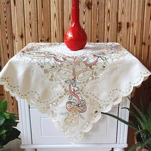 Christmas Tablecloth Festivals Household Christmas Bells Decor Embroidered Hollow Tablecloths Bedside Cabinet Cover Oven Decor