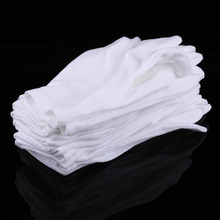 12 Pairs/Lot Practical White Nylon Work Safety Gloves for Coin Jewelry Silver Inspection Protection Insurance Comfortable Mitten
