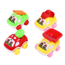 1 Pc Lovely Colorful Plastic Cartoon Car Truck Construction Vehicles Model Children Educational Toys Funny Games Birthday Gifts(China)
