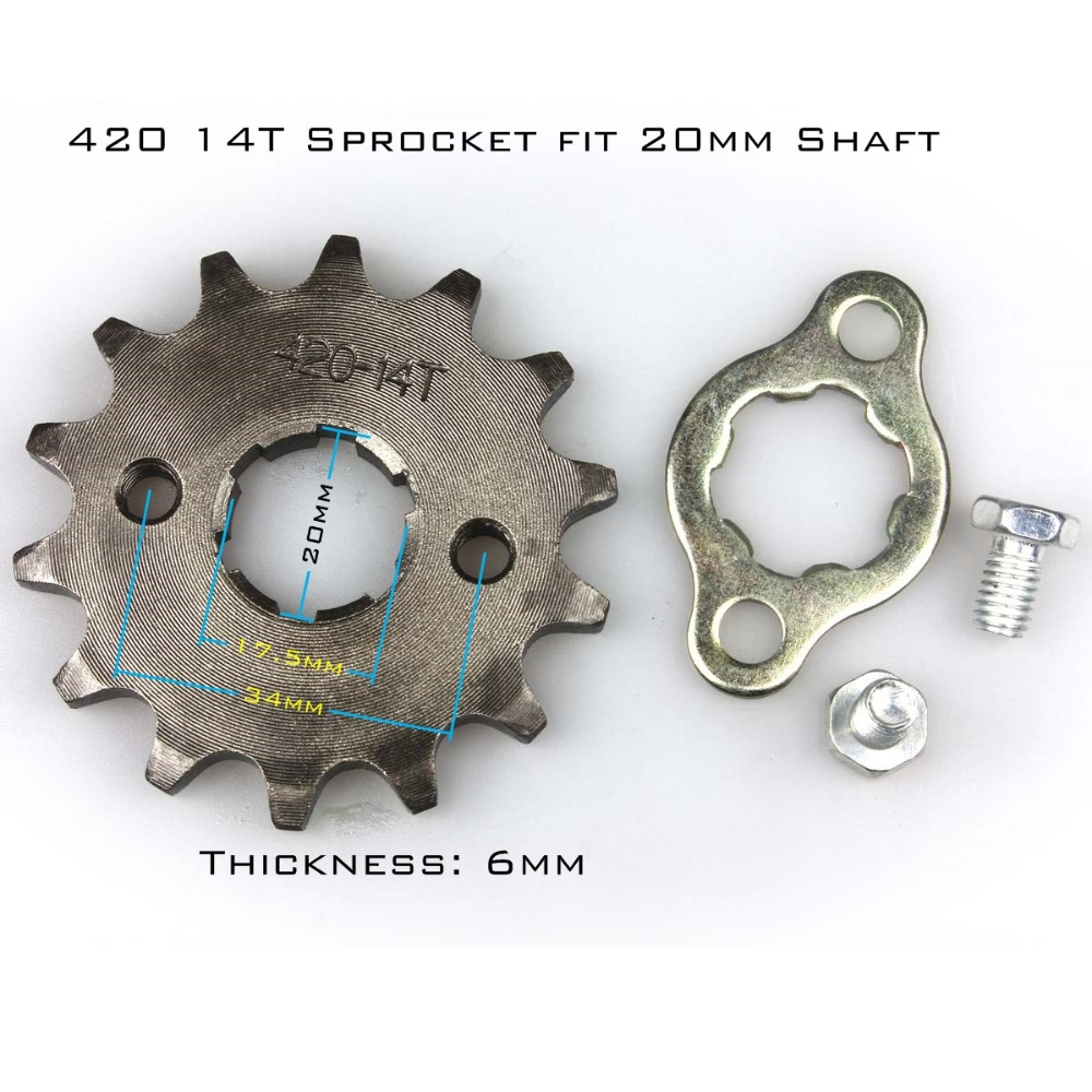 Front Sprocket 420-14T 20mm 420 Size 14 Teeth Sprocket for Motorcycle ATV Dirtbike(China (Mainland))