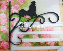 Free shipping,Pastoral Iron cock Hook flower pots Dia Open basket rack wall hanger expansion screw.black,garden supplies