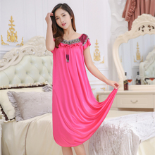 Summer fat MM sexy nightdress ladies long silk nightgown woman Home Furnishing middle-aged short sleeved Princess Dress(China)