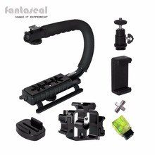 Fantaseal Camera C Shape Stabilizer Low Position Shooting Hand Grip w/3 Axis Hot Shoe +3 Axis Hot Shoe for Gopro + other cameras
