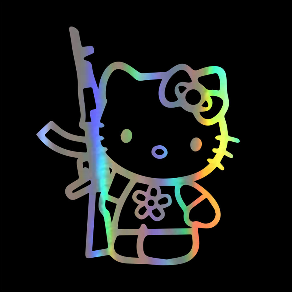 Cunymagos Funny Hello Kitty Rifle Vinyl Sticker Decal Personality Funny Car Styling Fashion Accessories Wall Decorative Stickers 13 (5)