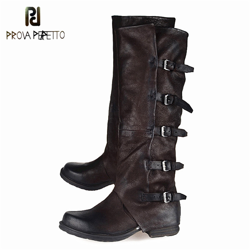 Prova Perfetto British Style Old Boots Top Quality Cow Genuine Leather Blet Buckle Woman Boot Square Toe Knee High Shoes