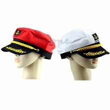 Unisex Adult Peaked Skipper Sailors Navy Captain Boating Hat Cap Fancy Dress(China)