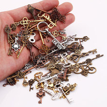 Vintage Metal Small Key Charms for Jewelry Making DIY Key Pendant Charms Jewelry Handmade Crafts 100pcs/lot C5091(China)