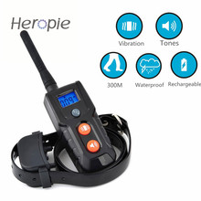 Heropie Dog Trainer LCD Remote 300M Waterproof Rechargeable Pet Cat Dog Training Collar Vibration Tones(China)
