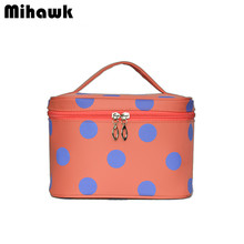 Women's Waterproof Dot Cosmetic Bag Box Travel Organizer Makeup Case Beauty Brushes Toiletry Storage Accessories Supplies