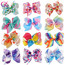 "12 Pieces/lot 6"" Rainbow Hair Bow With Hair Clip For Kids Girls Printed Grosgrain Ribbon Hair Bow Hairgrips Hair Accessories"