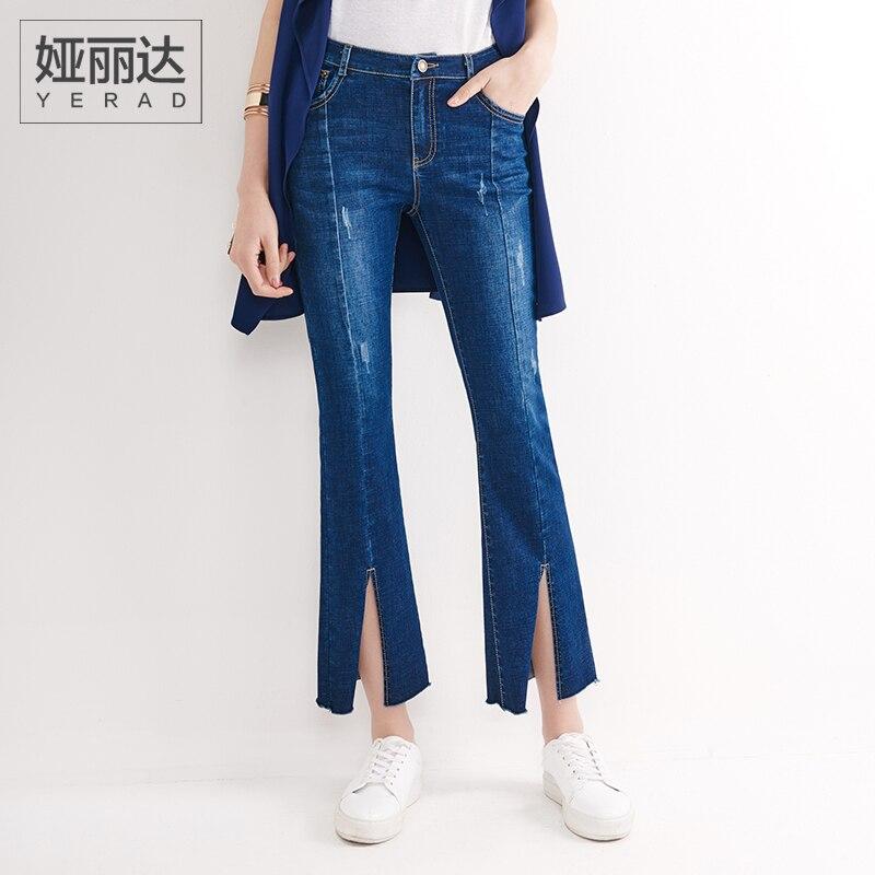 YERAD Woman Flare Jeans Slim Bell Bottom Denim Pants Creative Leg Opening Mid Waist Jeans Îäåæäà è àêñåññóàðû<br><br>