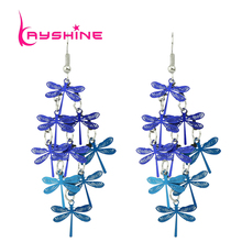 Boho Style Cute Party Earrings Blue and Colorful Dragonfly Bohemian Jewelry Dangle Long Earrings Female For Women Brincos