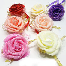 5pc/ lot Rose Wrist Corsage Ribbon Flower Wedding Party Bridesmaid Hand Crafted Flower Engagement party Decorations