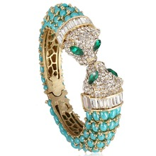 BELLA Fashion Design Blue Panther Leopard Bracelets & Bangles Austrian Crystal Animal Bracelets Cuff Gold Tone For Women Party(China)