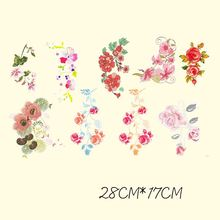 28*17cm Vintage Applique 9 In 1 Flower Patch Thermal Transfer Iron On Patches For Clothing DIY T-shirts A-plus Washable