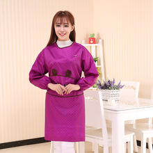 Cartoon Cute Long Sleeved Apron Round Spots Household Cleaning Aprons For Woman Kindergarten Teacher Work School Aprons Tablier