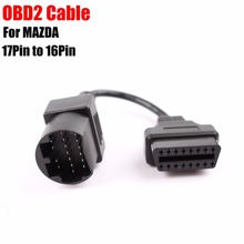 (20PCs/lot) For Mazda 17PIN to 16PIN OBD2 OBDII Cable Connector For Mazda 17 pin to 16 pin OBD 2 OBD II Extension Cable DHL Free