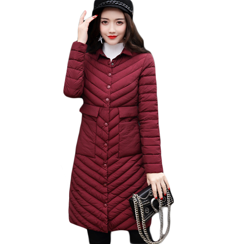 New 2017 Female Turn-down Collar Single Breasted Long Winter Jacket Coats Thin Slim Solid Women Winter Jacket Outwears CM1743Îäåæäà è àêñåññóàðû<br><br>