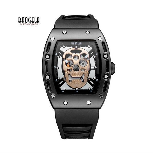 Baogela Mens Fashion Skeleton Waterproof Luminous Quartz Wrist Watch with Military Silicone Bracelet Stars Pink Gold Mens Wrist<br><br>Aliexpress