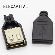 New 10pcs Type A Female USB 4 Pin Plug Socket Connector With Black Plastic Cover