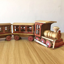 one piece Simulation Wooden Train toys Model cars kawaii Retro Iron Horse House Room Decoration toy car for children(China)