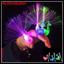Actionbabei 5pcs/lot NEW Finger Light Up Ring Laser LED Party Rave Favors Glow Beams Toys Peacock(China)
