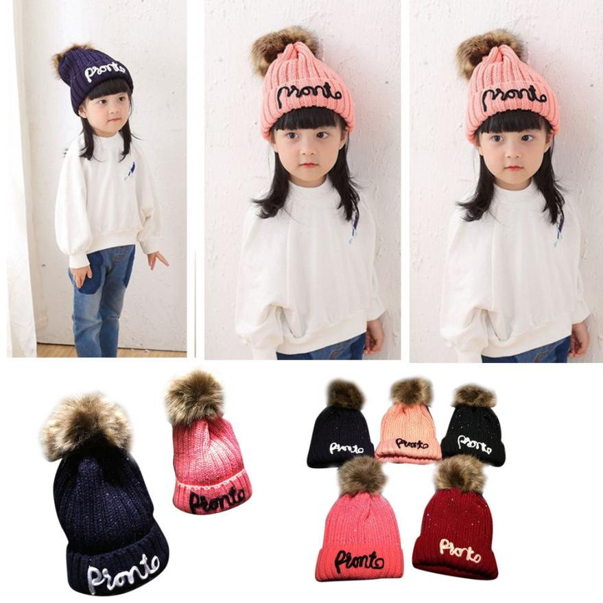 2016 Fashion Letter Print Winter Warm Faux Fur Ball Hats Boys Girls Beanies Cap For Kids Children AmazingÎäåæäà è àêñåññóàðû<br><br><br>Aliexpress