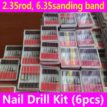 6pcs Nail Drill Bits Kit for Professional Electric Filing Machine Pedicure Manicure Tools 2.35 rod 6.35mm sanding band file set(China)