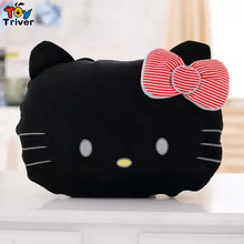 Triver cartoon black cat kt carpet quilt blanket portable reelable baby shower car Air condition travel rug doll toy pillow(China)
