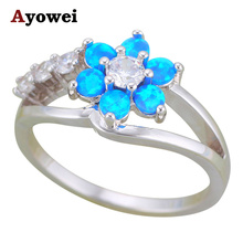 Ayowei Flower Rings for Mother Blue Fire Opal 925 Silver Australia Rings Fashion Jewelry USA Sz#5#6#7#8#9#10 OR881A