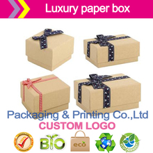 Natural Kraft Boxes two piece style with lift off lid,with ribbon bow,100% recyclable.Custom logo(China)
