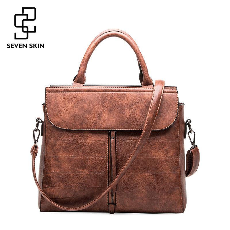 SEVEN SKIN 2017 Crocodile Pattern Leather Bag Famous Brands Women Messenger Bags Handbag Female Designer Tote Bag bolsa feminina<br>